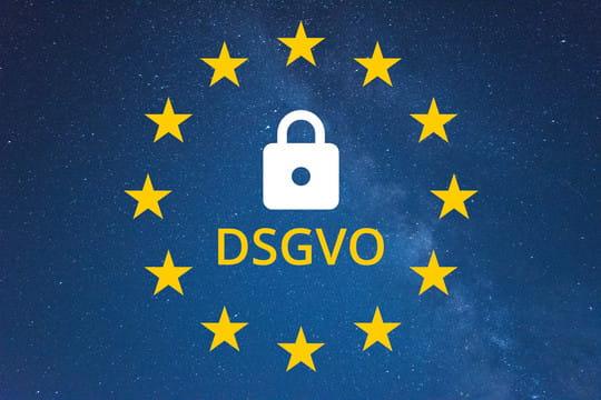 DSGVO-Schriftzug in EU-Flagge
